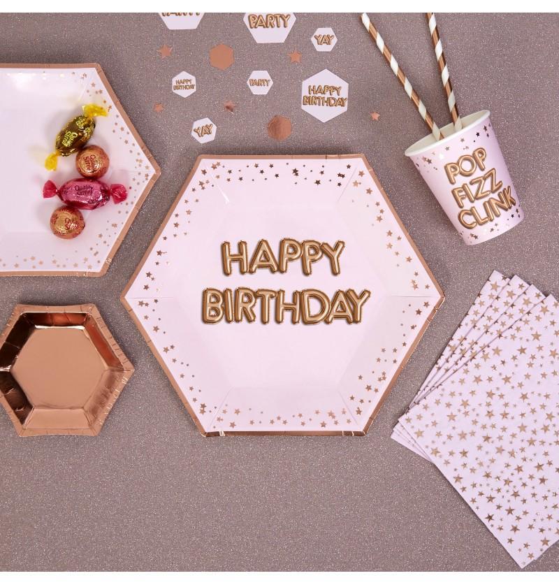 "Set de 8 platos hexagonales ""Happy Birthday"" de papel - Glitz & Glamour Pink & Rose Gold"