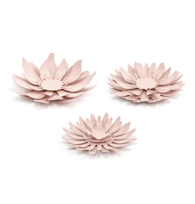 Set de 3 flores variadas rosa pastel para mesa de papel - Rustic Collection