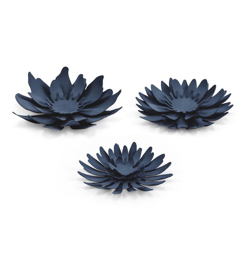 Set de 3 flores variadas azul marino para mesa de papel - Rustic Collection