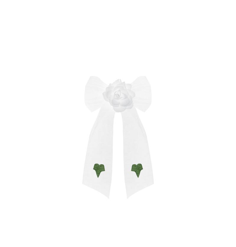 Set de 4 lazos con flor blancos y hojas verdes de tul para coche de novia
