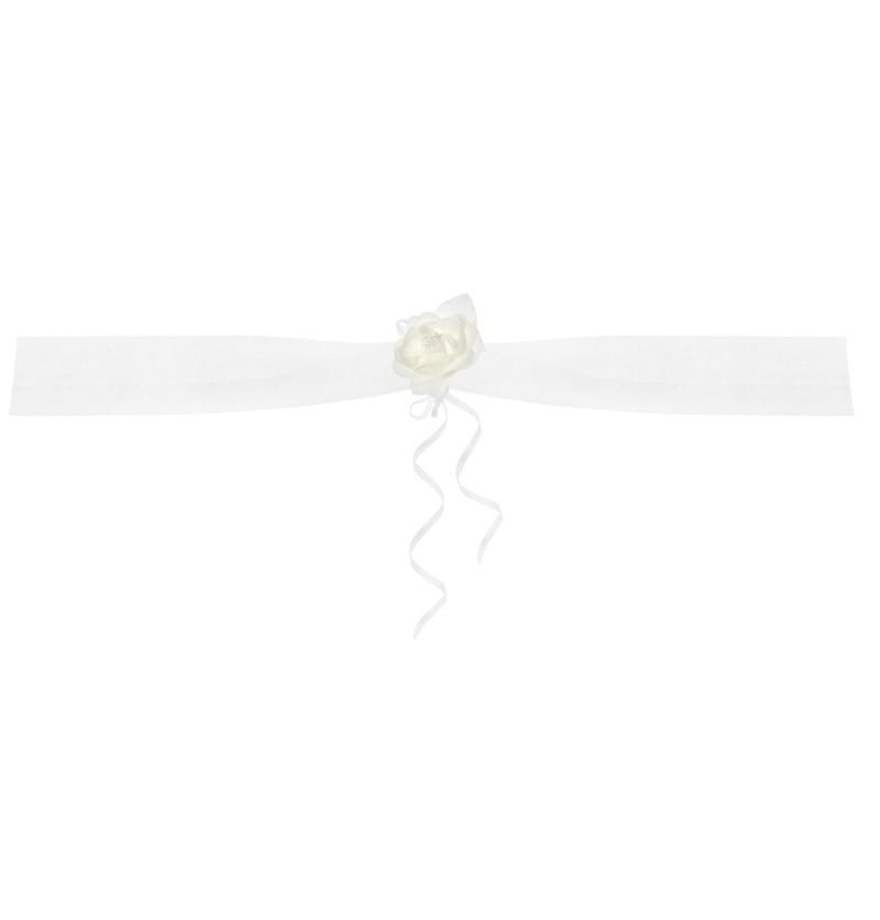 Set de 2 cintas blancas con flor y decoración de organza para coche de novia