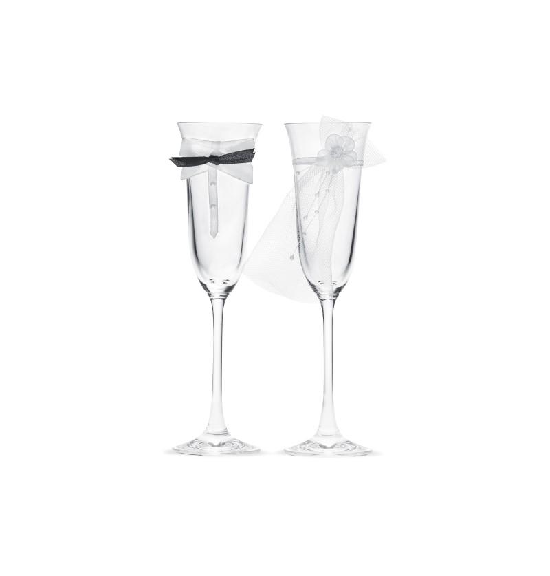 Set de 2 copas de champagne con decoración de corbata y velo