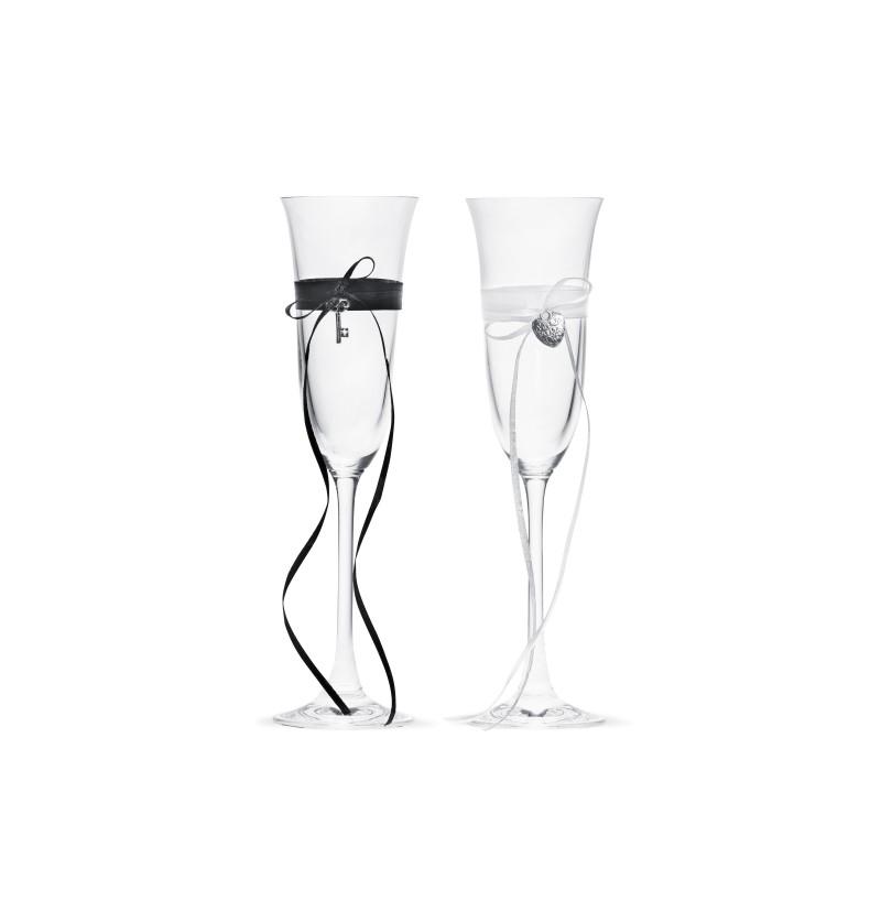 Set de 2 copas de champagne con cinta blanca y corazones dorados