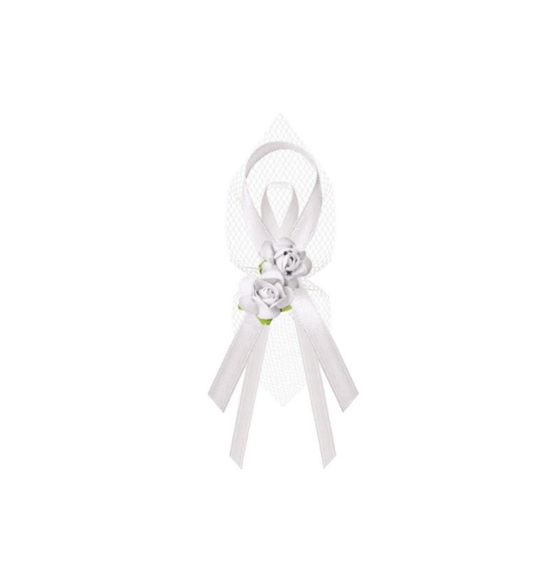 Set de 6 lazos blancos con detalle de flores