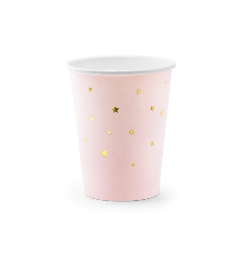 Set d 6 vasos rosas pastel con estrellas doradas de papel