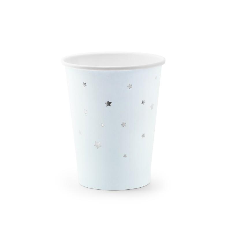 Set d 6 vasos azules pastel con estrellas plateadas de papel