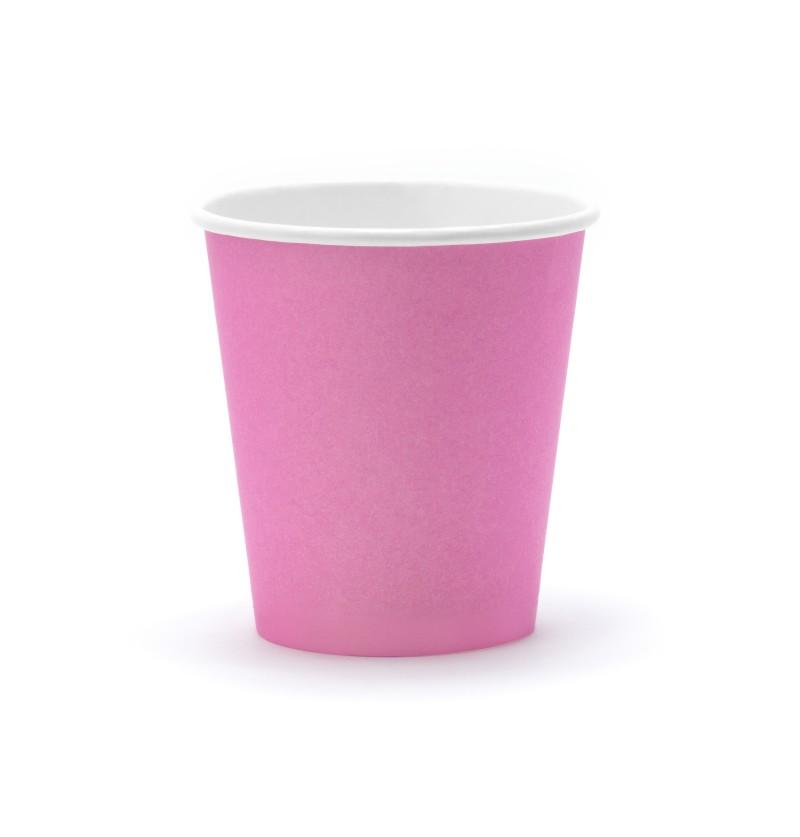 Set de 6 vasos rosas de papel