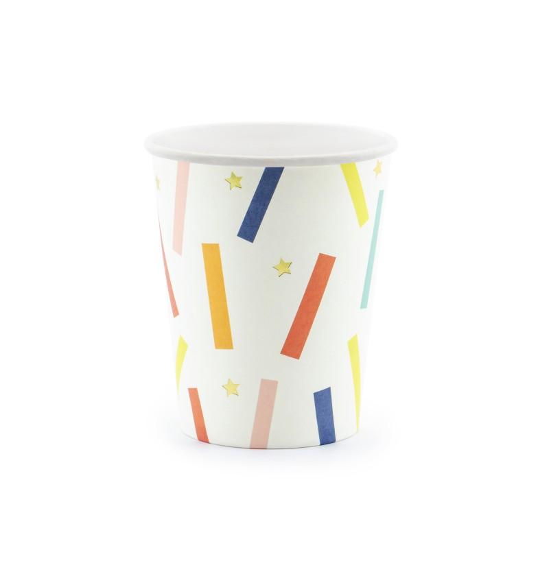 Set de 6 vasos blancos con estampado rectangular multicolor de papel