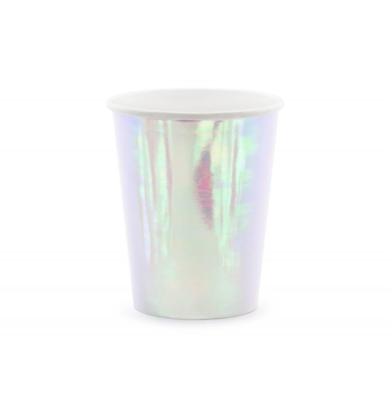 Set de 6 vasos rosa iridiscente de papel - Iridescent