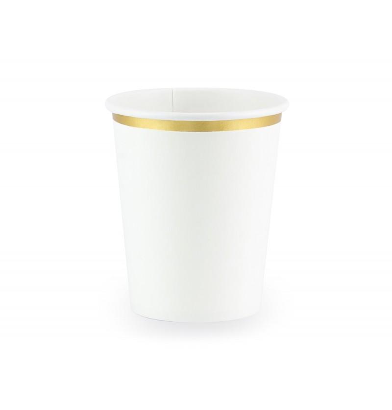 Set de 6 vasos blancos con borde dorado de papel - First Communion
