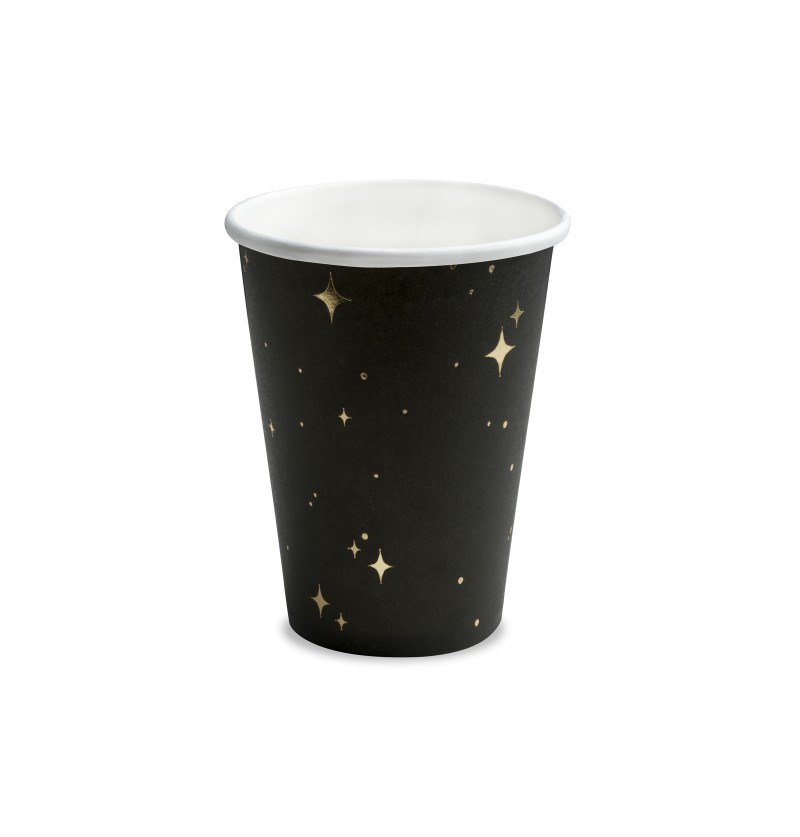 Set de 6 vasos negros con estrellas doradas de papel - New Year's Eve Collection