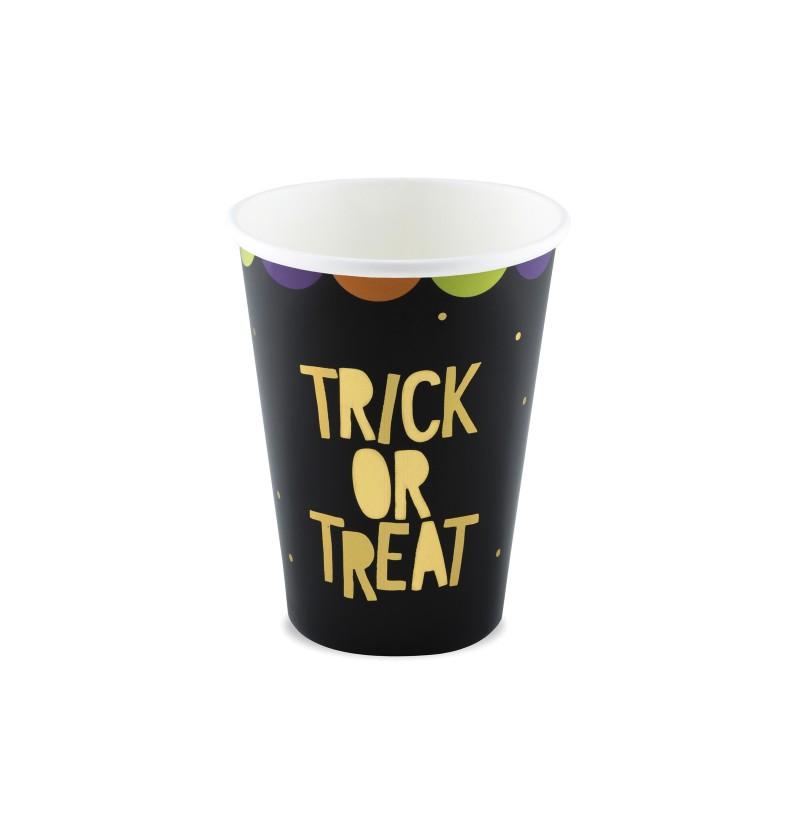 """Set de 6 vasos """"Trick or Treat"""" negros de papel - Hocus Pocus Collection"""