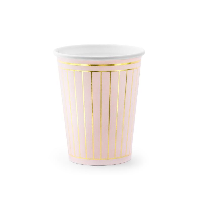 Set de 6 vasos rosa pastel con rayas doradas de papel