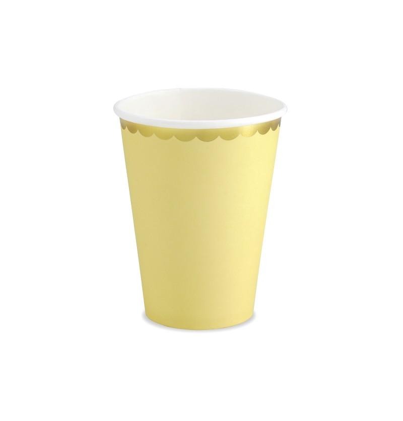 Set de 6 vasos amarillo pastel con borde dorado de papel - Yummy