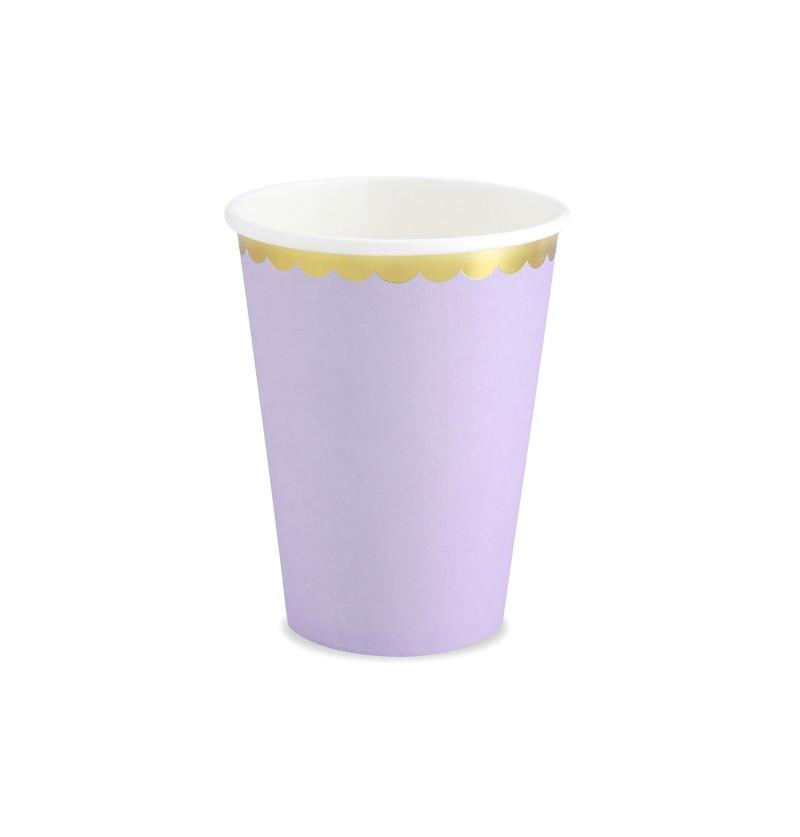 Set de 6 vasos lila pastel con borde dorado de papel - Yummy