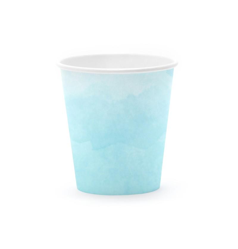 Set de 6 vasos azul turquesa degradado de papel