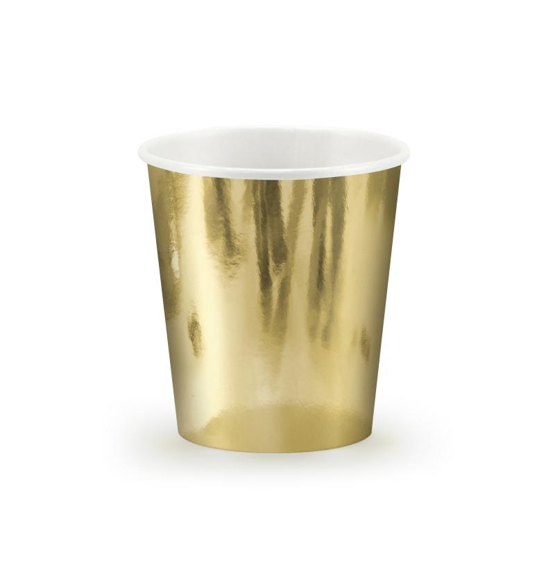 Set de 6 vasos dorados de papel - New Year & Carnival
