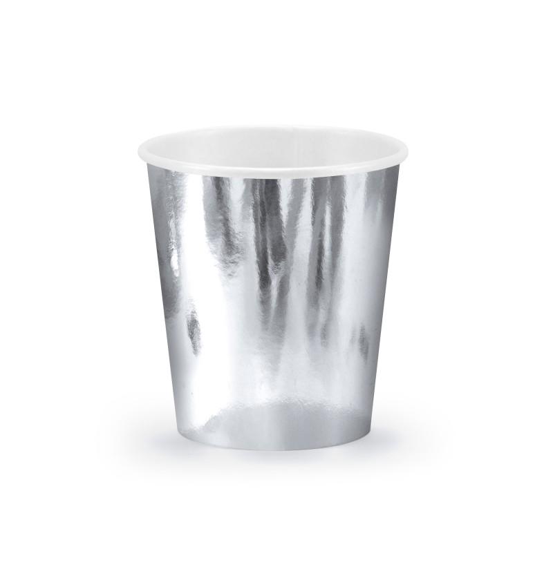 Set de 6 vasos plateados de papel - New Year & Carnival