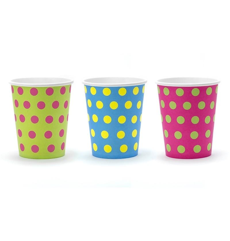 Set de 6 vasos estampado de lunares variados de papel - Colorful & holographic birthday