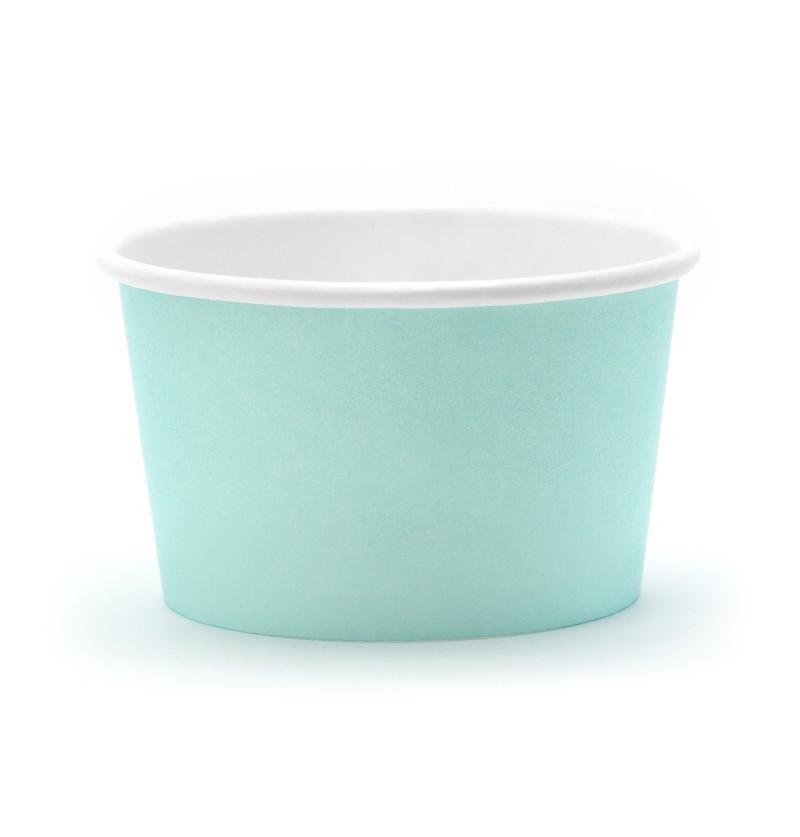 Set de 6 vasos azul turquesa para helado de papel - Aloha Collection