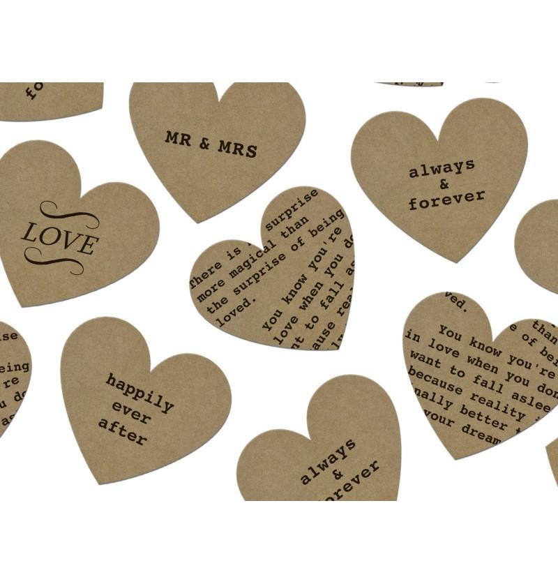 Confeti con forma de corazón y texto variado de papel Kraft para mesa - Rustic Collection