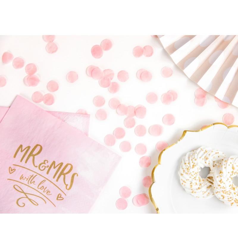 Confeti redondo rosa pastel de papel para mesa
