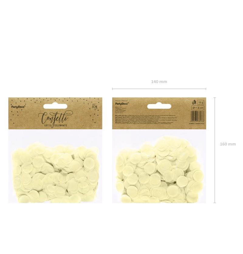 Confeti redondo beige de papel para mesa