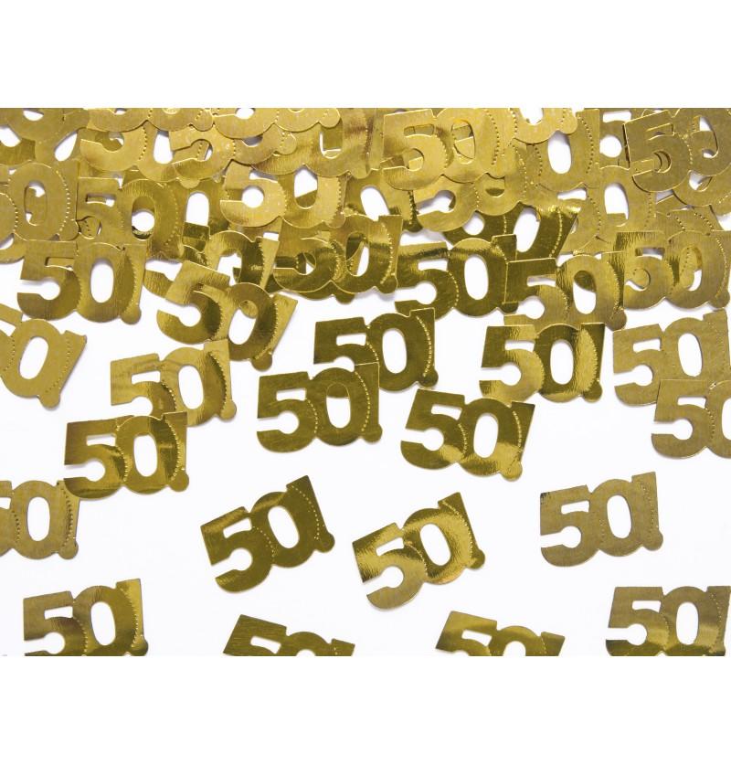 """Confeti con forma """"50!"""" dorado metálico para mesa - Milestone Birthday"""