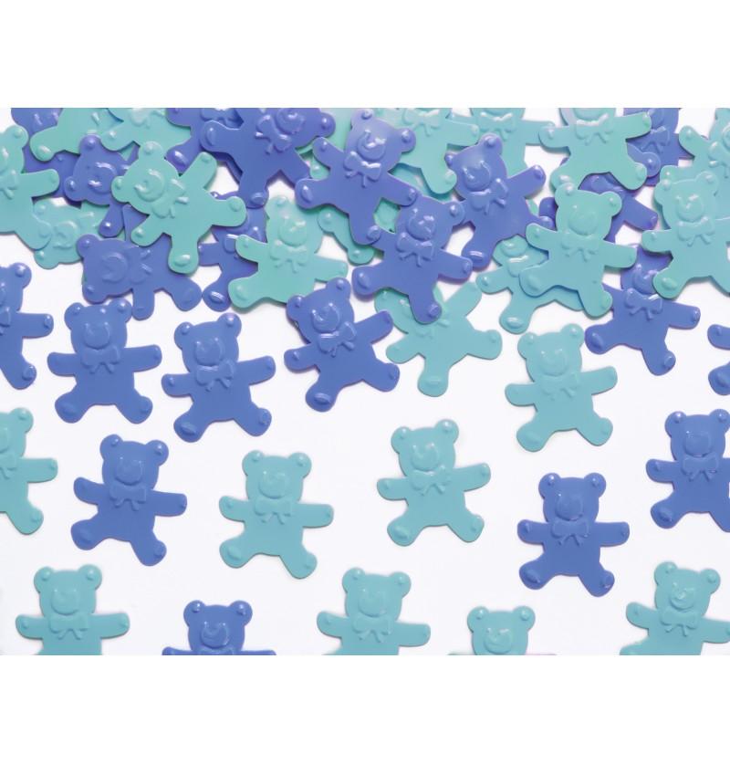 Confeti con forma de osito en tonos azules para mesa