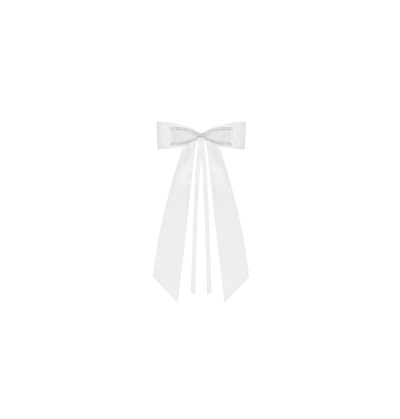 Set de 2 lazos blancos con detalle gris de 14 cm para coche de novia