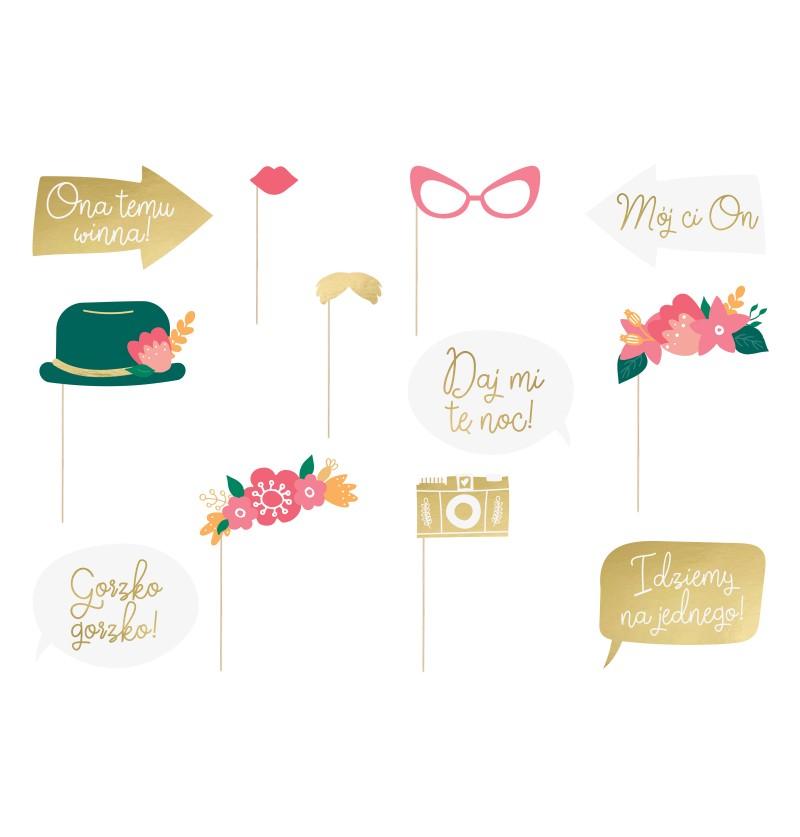Set de 12 piezas multicolor de boda para photocall