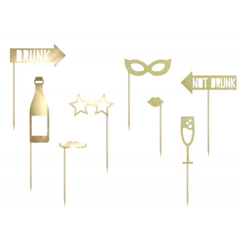 Set de 8 piezas variadas de fiesta doradas para photocall - Happy New Year Collection