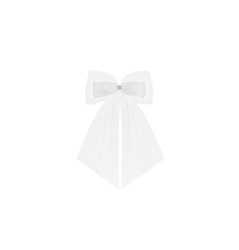 Set de 2 lazos dobles blancos para coche de boda