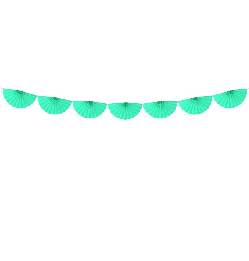 Guirnalda de abanicos grandes verde menta claro de papel
