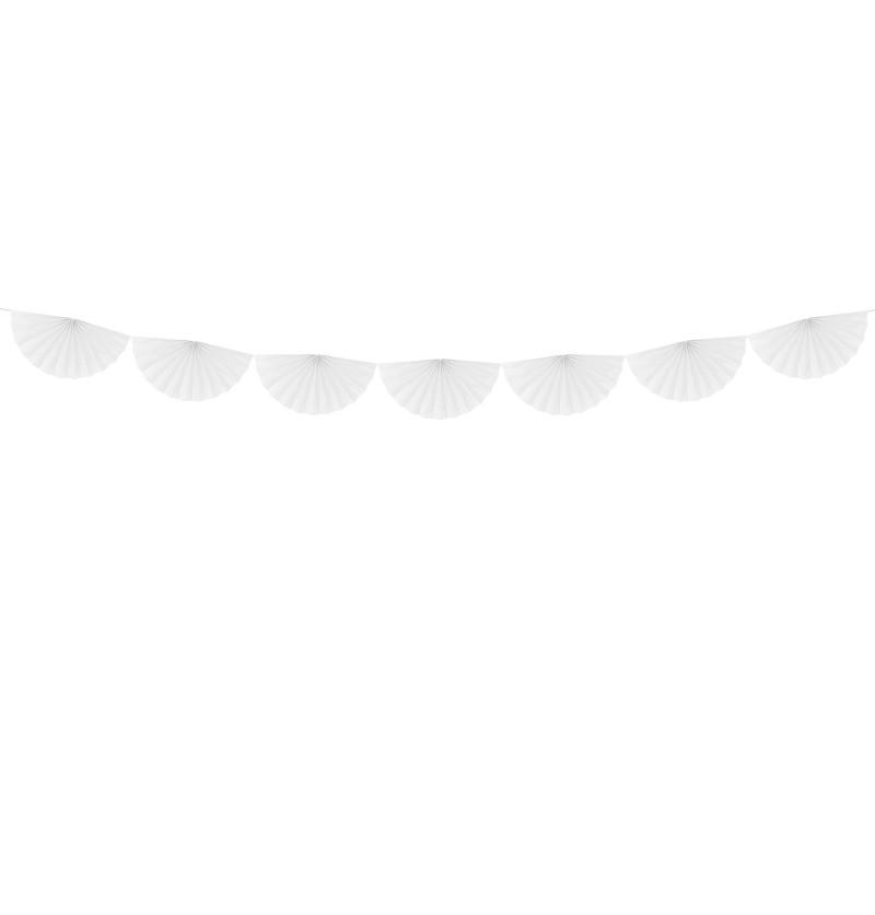 Guirnalda de abanicos grandes blanco de papel