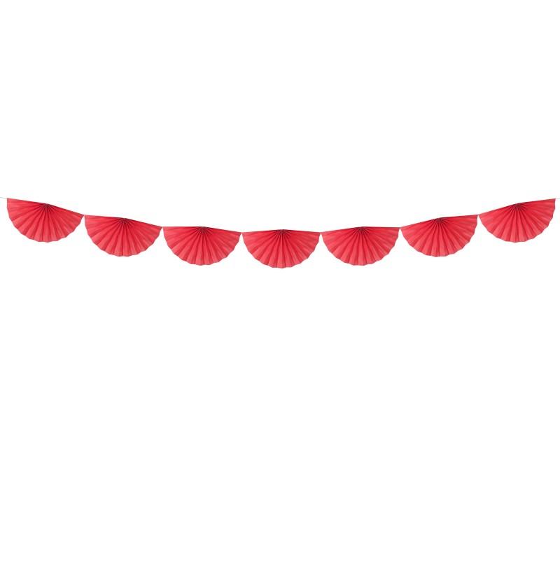 Guirnalda de abanicos grandes rojo de papel