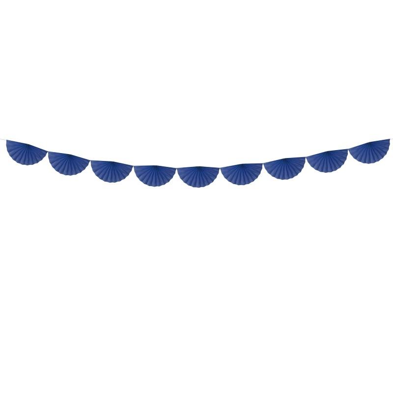 Guirnalda de abanicos azul marino de papel
