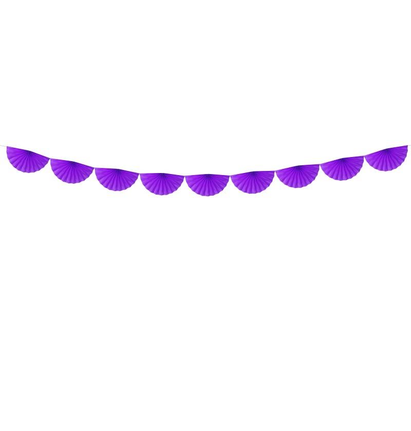 Guirnalda de abanicos violeta de papel