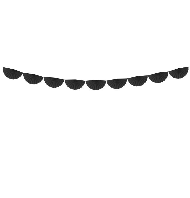 Guirnalda de abanicos negro de papel