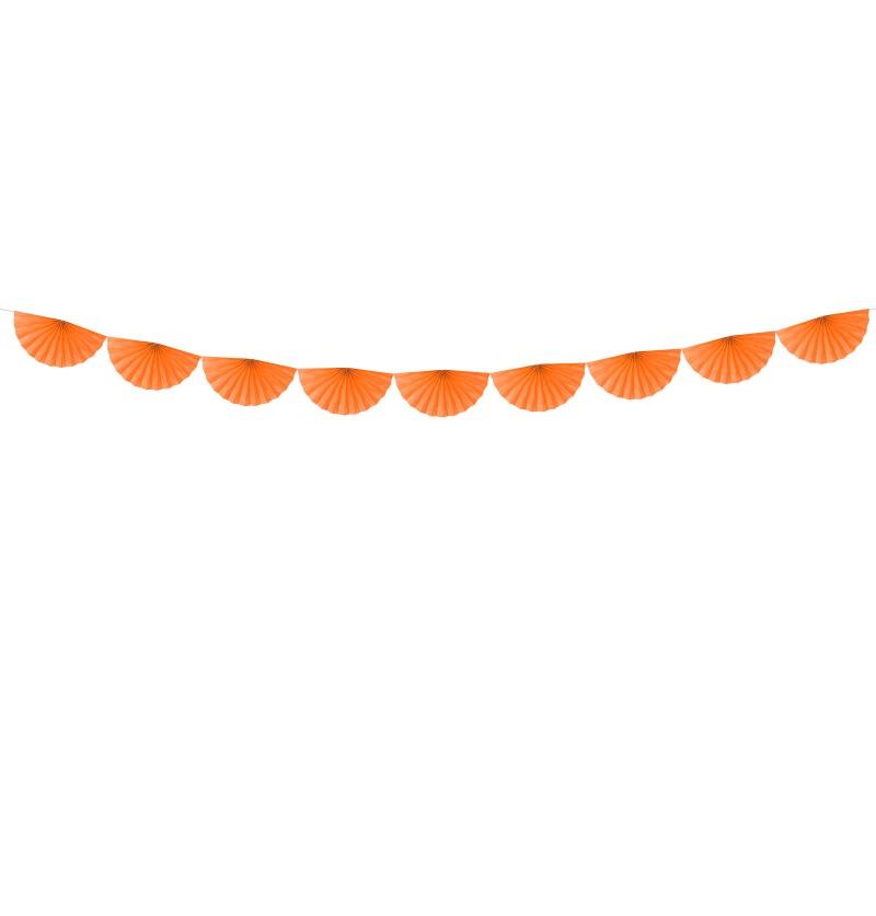 Guirnalda de abanicos naranja de papel