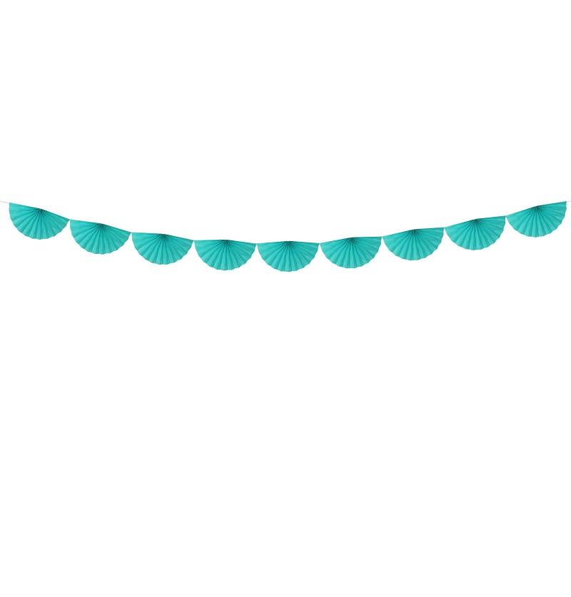Guirnalda de abanicos azul turquesa de papel