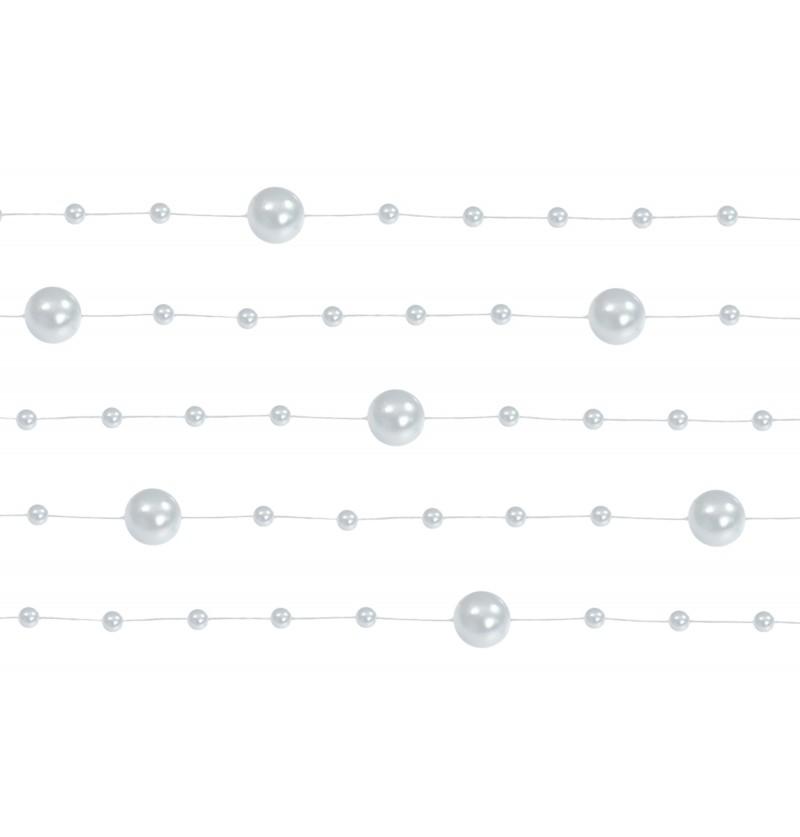 Set de 5 cintas de gasa con abalorios plateado de 1,3 m