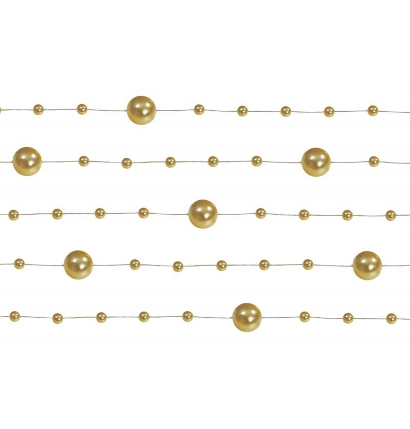 Set de 5 cintas de gasa con abalorios dorado de 1,3 m