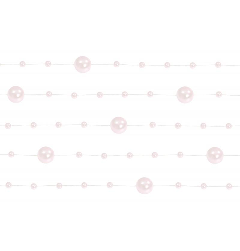 Set de 5 cintas de gasa con abalorios rosa pálido de 1,3 m