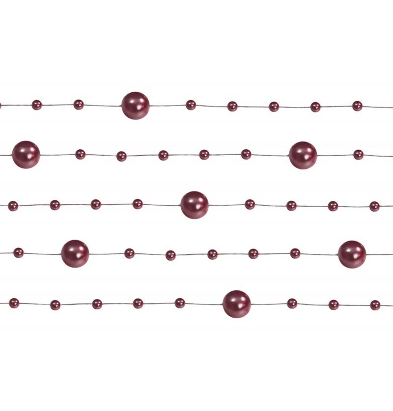 Set de 5 cintas de gasa con abalorios granate de 1,3 m