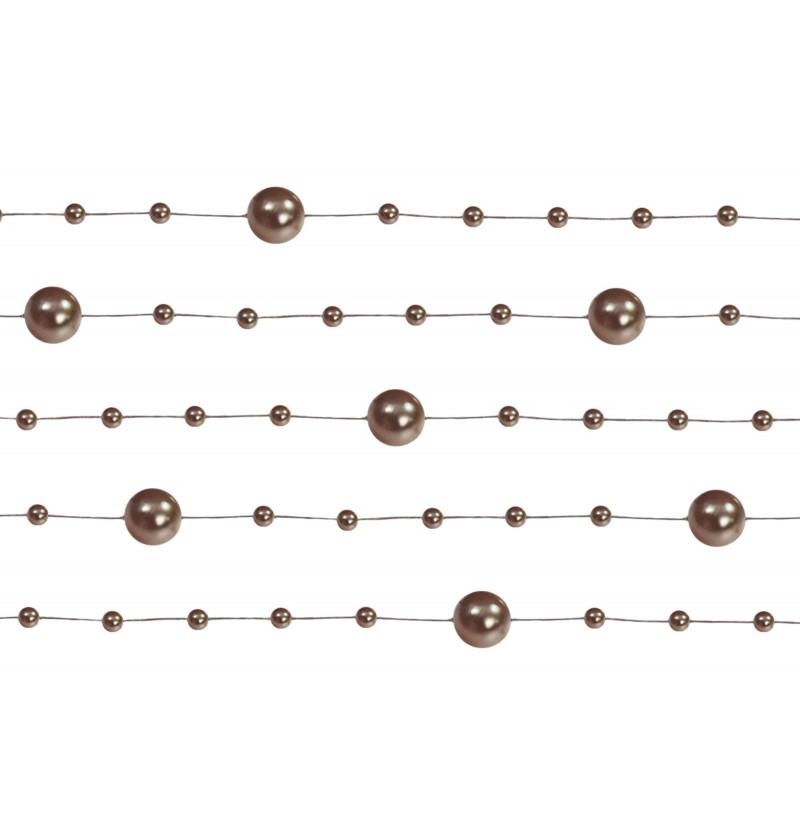 Set de 5 cintas de gasa con abalorios marrón de 1,3 m