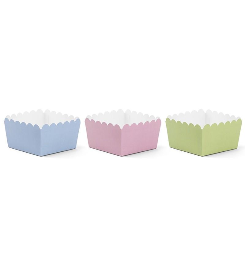 Set de 6 cajitas variadas para aperitivos tonos pastel de papel - Pastelove
