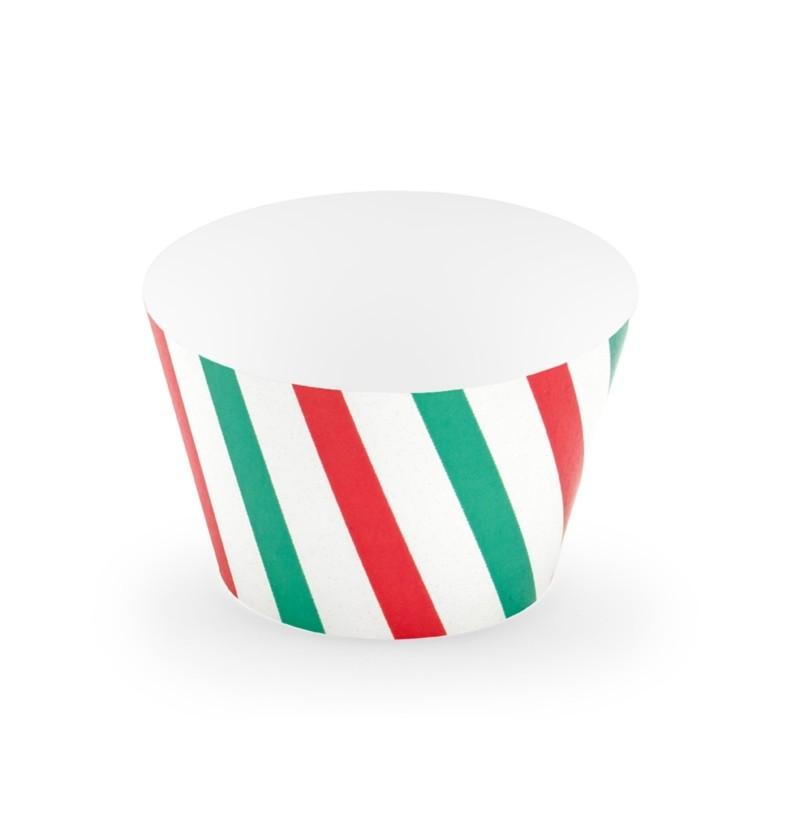 Set de 6 bases para cupcakes de rayas verdes y rojas de papel - Merry Xmas Collection