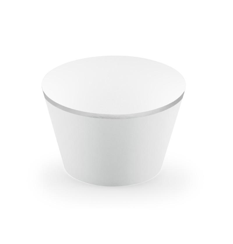 Set de 6 bases para cupcakes gris con borde plateado de papel