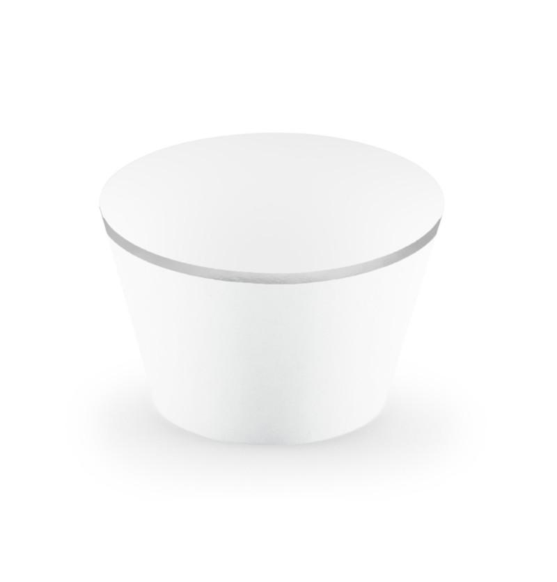 Set de 6 bases para cupcakes blanco con borde plateado de papel